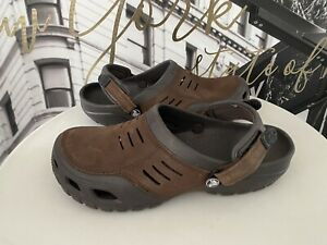 MENS CROCS BOGOTÁ BROWN LEATHER UPPERS SIZE 11 RRP £50 WORN ONCE CLOGS SANDALS