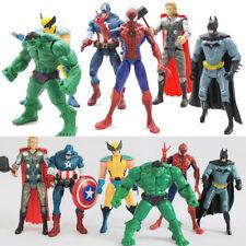 6PCS Set The Avengers Hulk Captain Wolverine Batman Spiderman Figure Collection