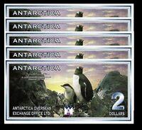 ANTARCTICA 2 DOLLARS 28 - 11 - 1999 UNC 5 PCS CONSECUTIVE LOT TRAGEDY of 901