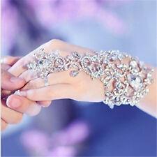 Bling Bridal Slave Chain Link Ring Bracelet Crystal Rhinestone Wristband Bangle