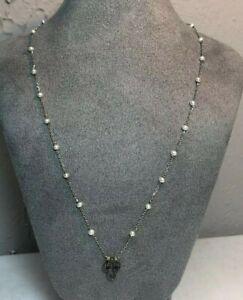 Andrea Candela 18K Gold Sterling Silver Open Cross Black Diamond Pearl Necklace