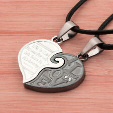 Black White Love Heart Puzzle Lovers Pendant Couples Necklace Set Jewellery Gift