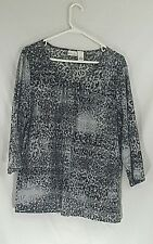 Kim Rogers XL Grey 3/4 Sleeve Top Blouse Shirt Excellent Condition