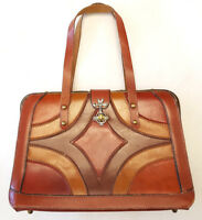 Handmade Genuine Leather Handbag Purse-Brown-Vintage-Turn Clasp-Handels-Swift