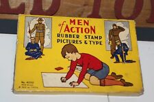 1932 MEN of ACTION RUBBER STAMP PICTURES & TYPE in box. By T.S.T. co.