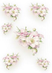 1 Blatt DIN A4 Decoupage Softpapier pink flowers