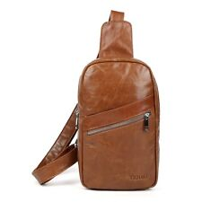 Men's Unisex Genuine Leather Shoulder Bag Small Backpack Chest Day Sports Pack
