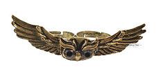 Vintage Bronze Bird Flying Owl Wings Jewellery Adjustable Double Finger Ring