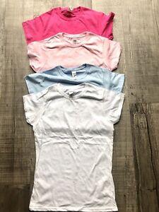 4 Ladies Plain T Shirt Plain Tops Short Sleeve Bundle SzS/8 Cotton Mixed BNWOT