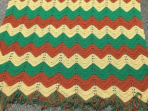 Vintage Crochet Afghan Zig Zag Chevron Pattern in Green Brown Tan With Yarn Trim