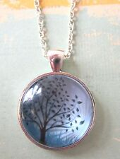 Handmade Tree of Life Silver Plated Pendant Glass Necklace New in Gift Bag