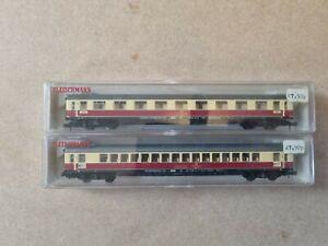 N Gauge Fleischmann 8163 & 8160 Coaches DB Red and Cream Boxed