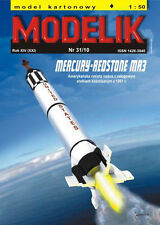 Mercury-Redstone MR3 US manned spacecraft with rocket, paper model kit 1:50