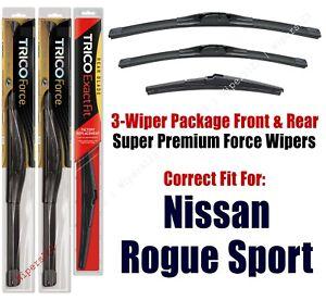 Wiper Blades 3pk Front Rear fit 2017+ Nissan Rogue Sport 25280/180/12J
