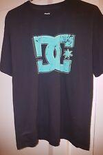 Used Men's DC SHOES Black/Green Logo Cotton Tagless Skater T-Shirt SZ L HTF 2014