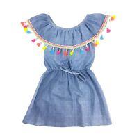 Girl's Kids Denim Look Tassel Frill Dress Bardot off Shoulder Age 4-14 Years