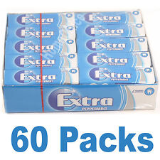 Wrigley's 60 Packets Extra Chewing Gum Peppermint Sugar Free Wrigleys 2 Packs