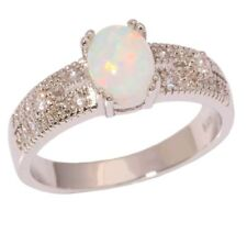 Size:8:Q 925 Sterling Silver White fire Opal & Zircon Ring.  UK STOCK
