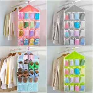 16 Pockets Hanging Wardrobe Clear Bag Storage Organizer Clothes Shoe Hanger