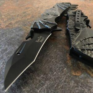 """9"""" Dark Side Blades DEMON BAT WING SPRING ASSISTED FOLDING KNIFE Pocket Open NEW"""