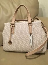 NWT DKNY  Purse Satchel Crossbody Bag Beige  Heritage Coated Logo $225