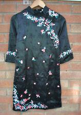 Ladies BNWT Red Herring Oriental Black 3/4 Sleeve Silky Chinese Floral Dress 8