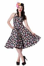 XS Black Sugar Skull Dress Hellbunny UK 8 Tea Dress Muertos Roses Vintage 1950s