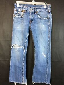 True Religion Mens Straight Flap Pocket Jeans Blue Denim Destroyed Sz 32x30