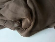 "NEW French 100% Silk Brown Crinkle Chiffon Fabric 55""139cm Dress Scarf Coco Lady"