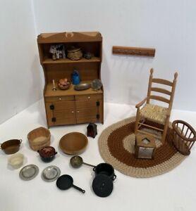 Vintage Primitive Lot Artisan Pieces Hutch 1974 Rug ETC Dollhouse Miniature 1:12
