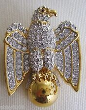 Signed Swan Swarovski Eagle Bird Brooch Pin