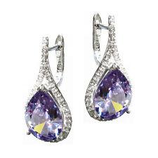 Purple Tanzanite Teardrop w/ Clear CZ Crystal 925 Sterling Silver Huggie Earring