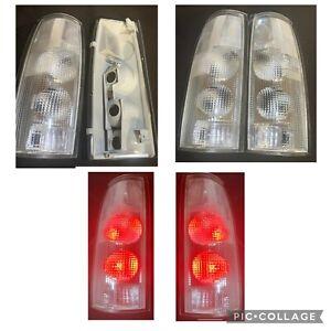 CLEAR Tail Light pair  88-98 Chevy K1500 Silverado Suburban C1500 W LED BULBS
