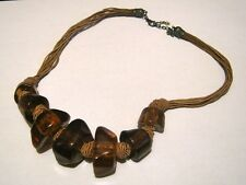 Great brown string necklace with rustic style brown plastic beads 40 - 45 cms