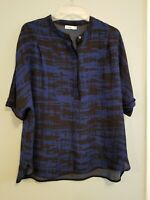 Vince Womens Blouse Blue Black Abstract 100% Silk 3/4 Sleeve Size M Top Sheer