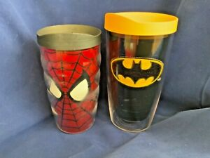 Set of 2 TERVIS TUMBLER  Insulated Plastic Mugs - Spider-Man and Batman