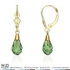 """14K Yellow Gold Teardrop Emerald Dangle Drop Leverback Earrings 1"""""""