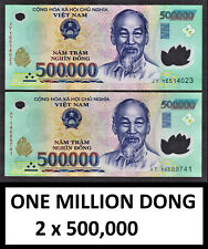 Vietnam Polymer 1,000,000 ONE MILLION DONG 2 x 500000 Circulated CANADIAN Seller
