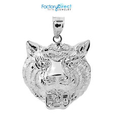 14k White Gold Diamond Cut Tiger Head Charm Pendant