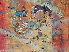RARE !  peinture traditionnelle mongole, sujet coquin,  signée, chevaux
