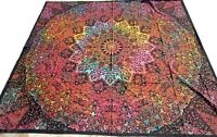 Indian Bedspread Elephants Queen Cotton Wall hanging Boho India Throw Multicolor