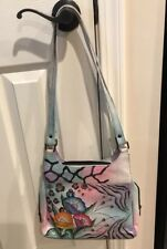 anuschka hand painted leather handbags preowned with matching Wallet