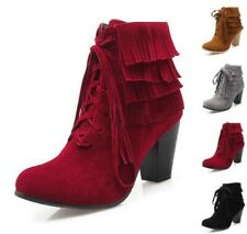 New Women's Block High Heel Fashion Winter Warm Tassels Ankle Boots 4 Colors B