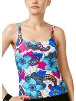 Island Escape Womens Maui Madness Printed Tankini Top 8 Pink Multi Swimsuit