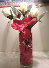 "Realistic Silk Flowers in ""Love Bug"" Vase NEW, HANDMADE BY ME!  VALENTINE'S DAY!"