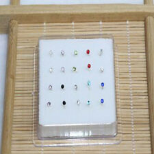 20PCS Solid Silver Mixed 3MM Ball Crystal Straight Bar Rod Nose Stud Wholesale