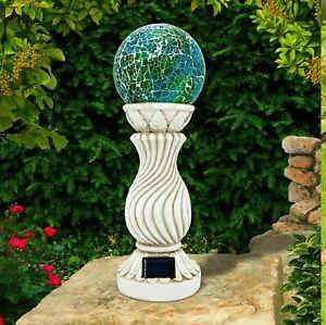 Solar Powered Mosaic Ball on Column Outdoor Garden Light Decoration Ornament