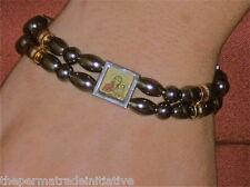 Bethlehem Palestine Handmade Hematite Beads Double Strand Bracelet Three Icons