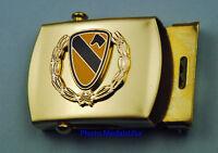 1st Cavalry Wreath Army tan kaki Web Belt &  brass buckle- Cav Division USA 1
