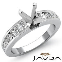 Diamond Engagement Round Semi Mount Ring Channel Setting 14k White Gold 0.7Ct